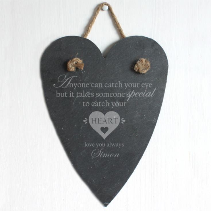 Personalised Catch Your Heart Slate Hanging Heart product image