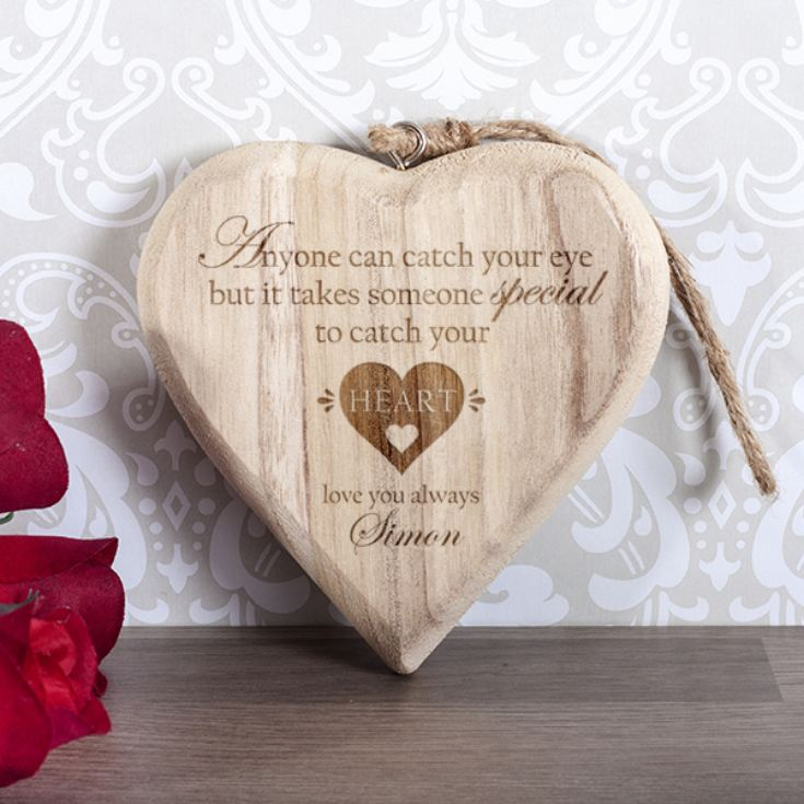 Personalised Catch Your Heart Wooden Hanging Heart product image