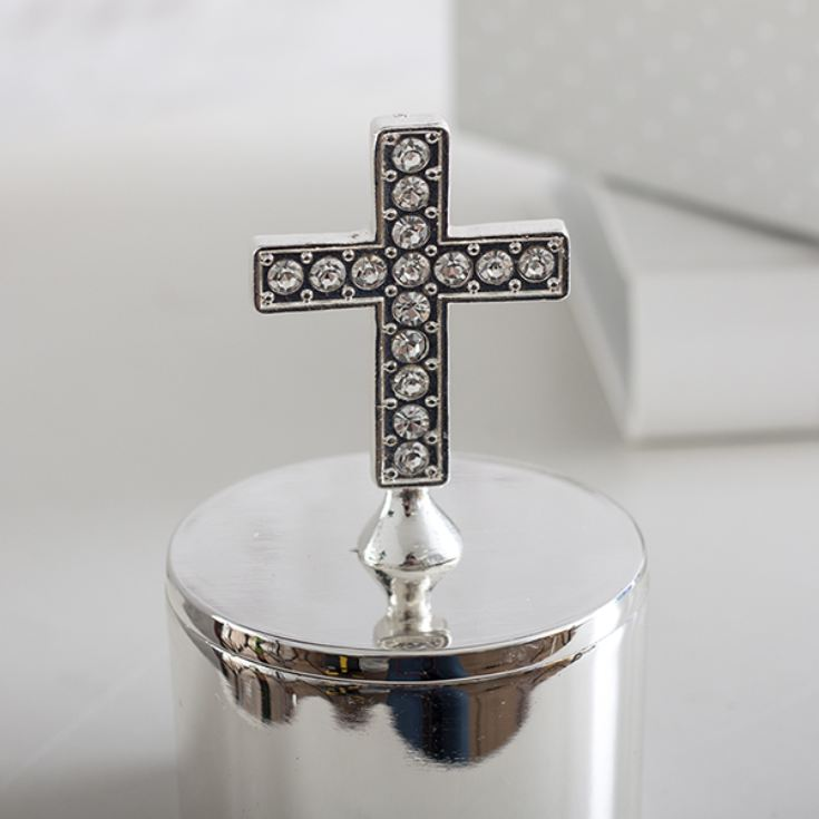 Personalised Silver Plated Trinket Box With Cross product image