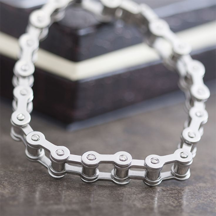 Stainless Steel Bike Chain Bracelet in Personalised Gift Box product image