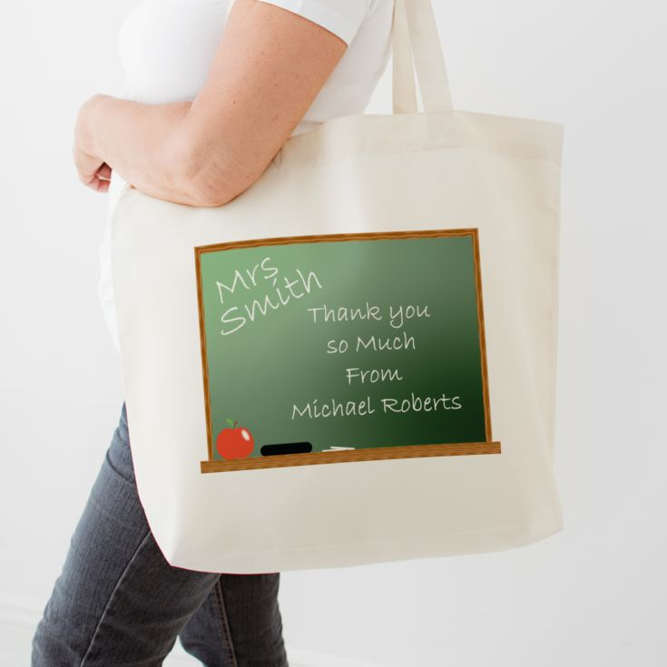 Personalised Teacher Shopping Bag - Chalkboard Design product image