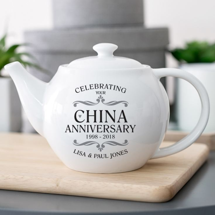 Twentieth Wedding Anniversary Gift: Personalised China Wedding Anniversary Teapot