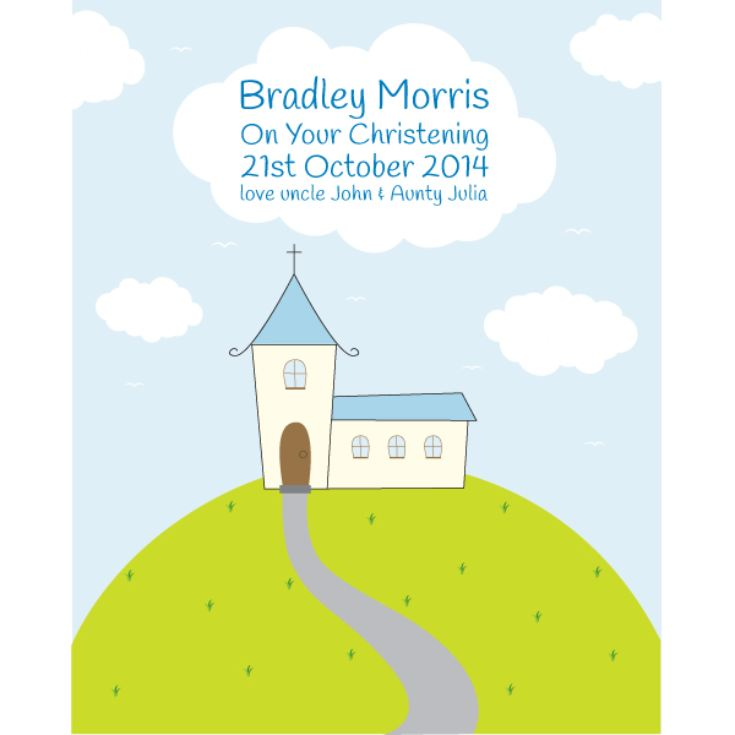 Personalised Boys Christening Framed Print product image