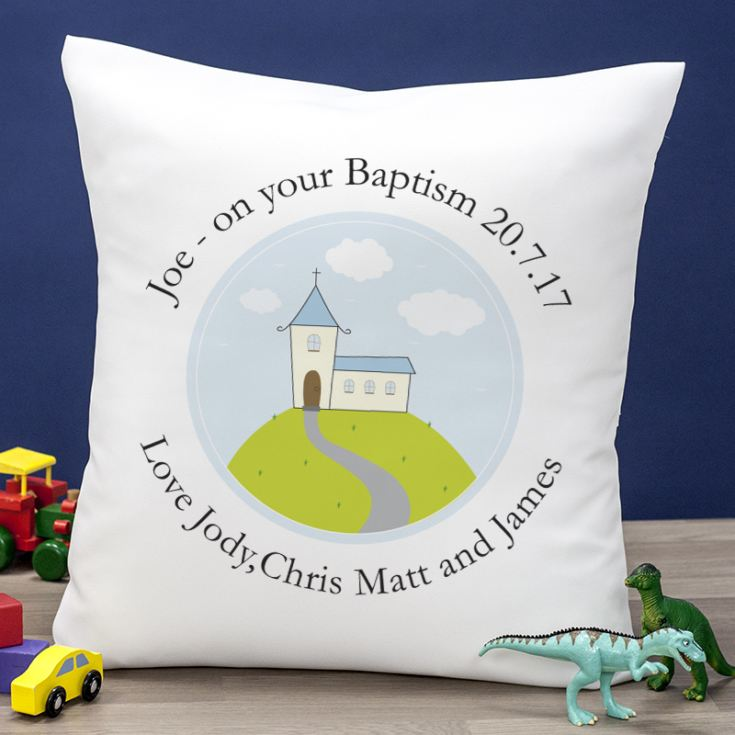 Personalised Boys Christening Cushion product image