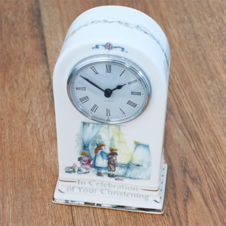 Personalised Christening Bone China Mantel Clock product image