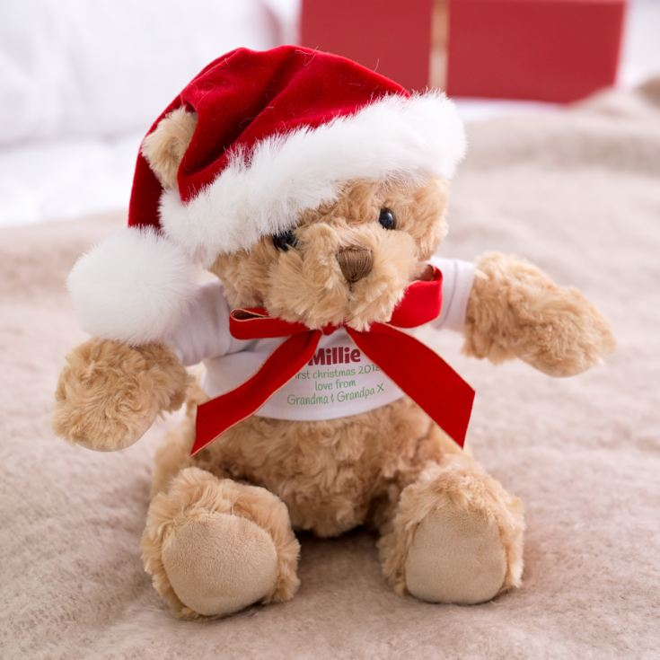 Personalised Christmas Teddy Bear with Santa Hat product image