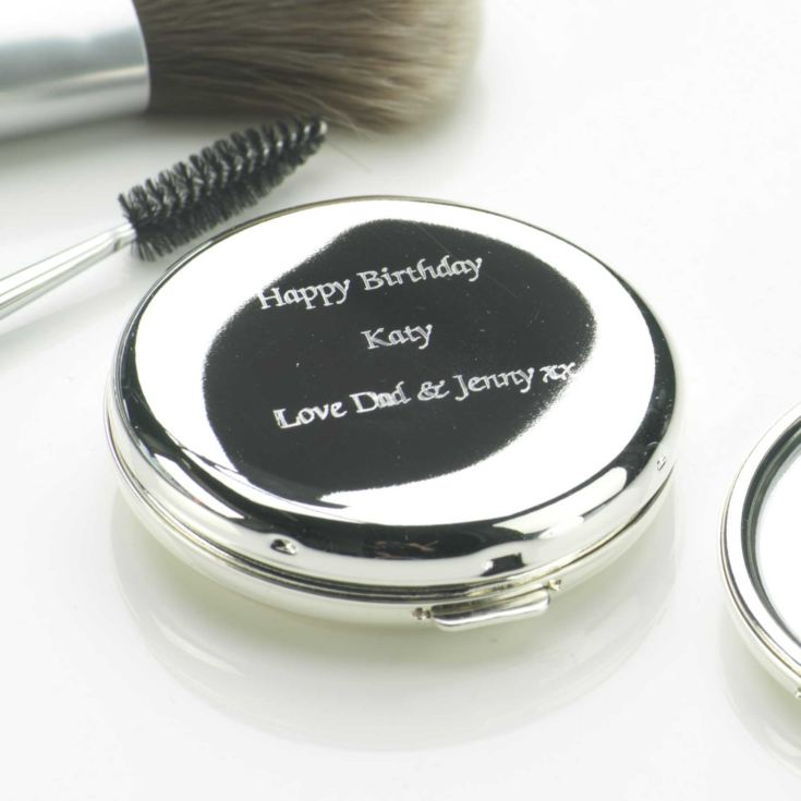 Personalised Silver Plated Round Compact Mirror product image