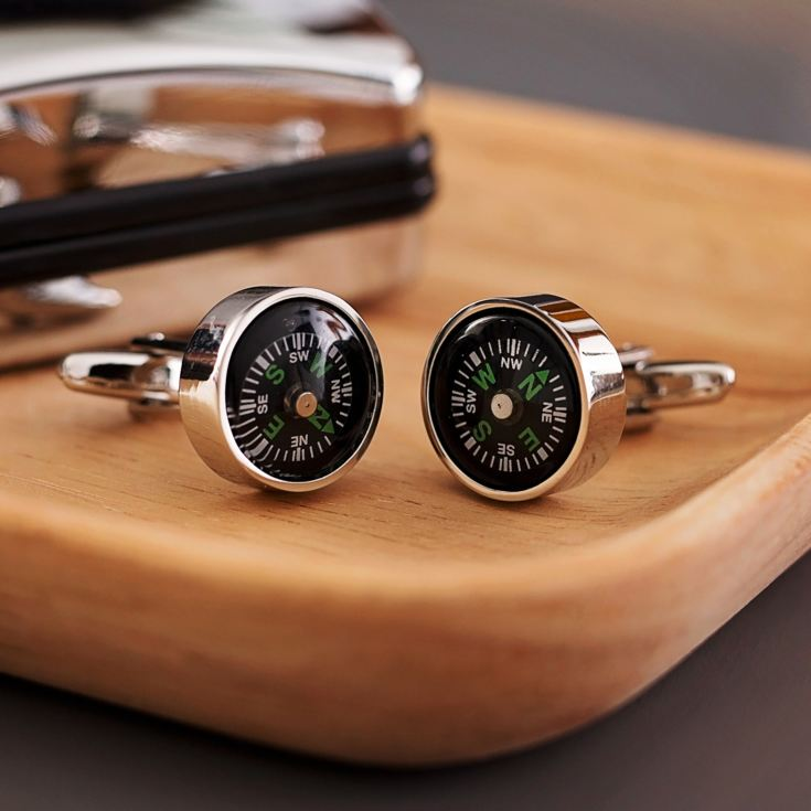 Working Compass Cufflinks In Personalised Gift Box product image