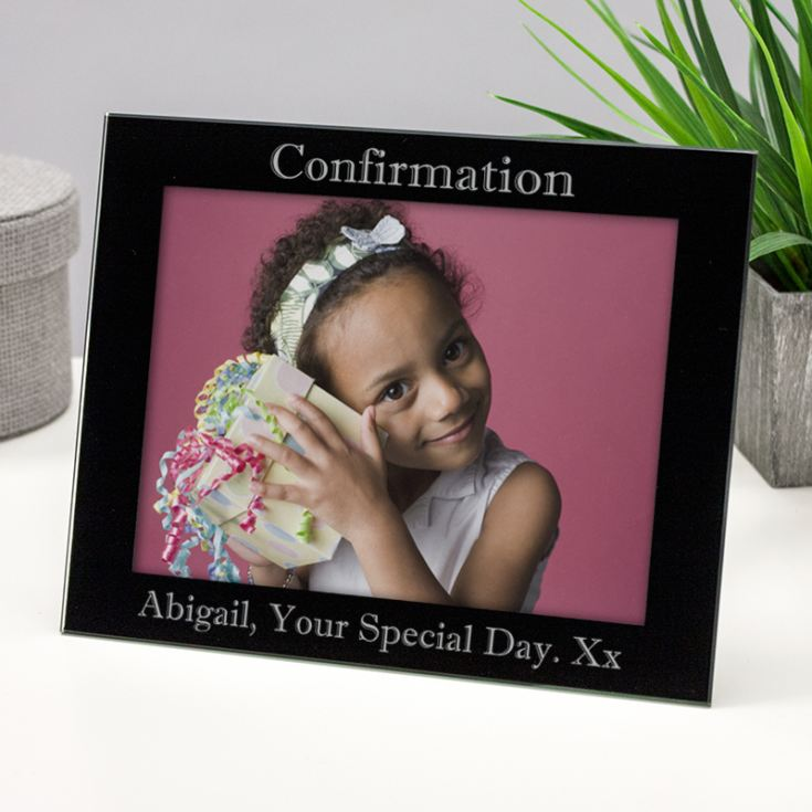 Personalised Confirmation Black Glass Frame product image