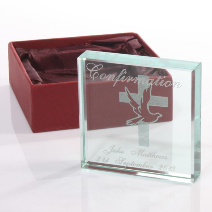 Confirmation Day Engraved Glass Keepsake product image