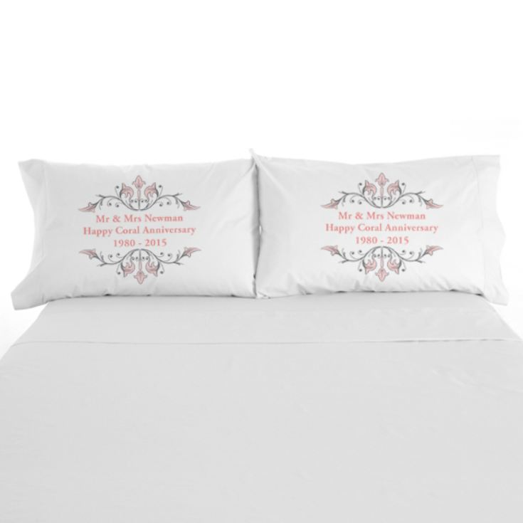 Personalised Coral Anniversary Pillowcases product image