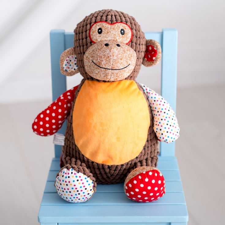 Personalised Embroidered Cubbies Harlequin Monkey Soft Toy product image