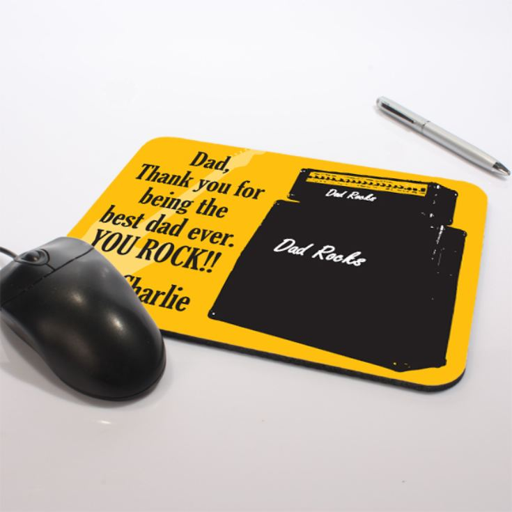 Personalised Dad Rocks Mouse Mat product image