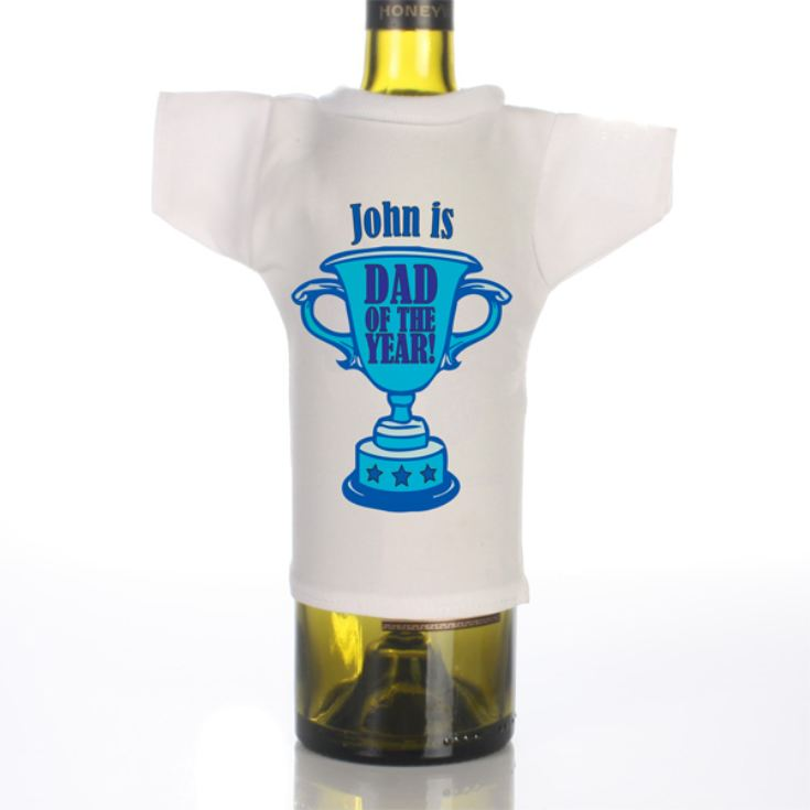 Dad of the Year Personalised Wine Bottle T-Shirt product image