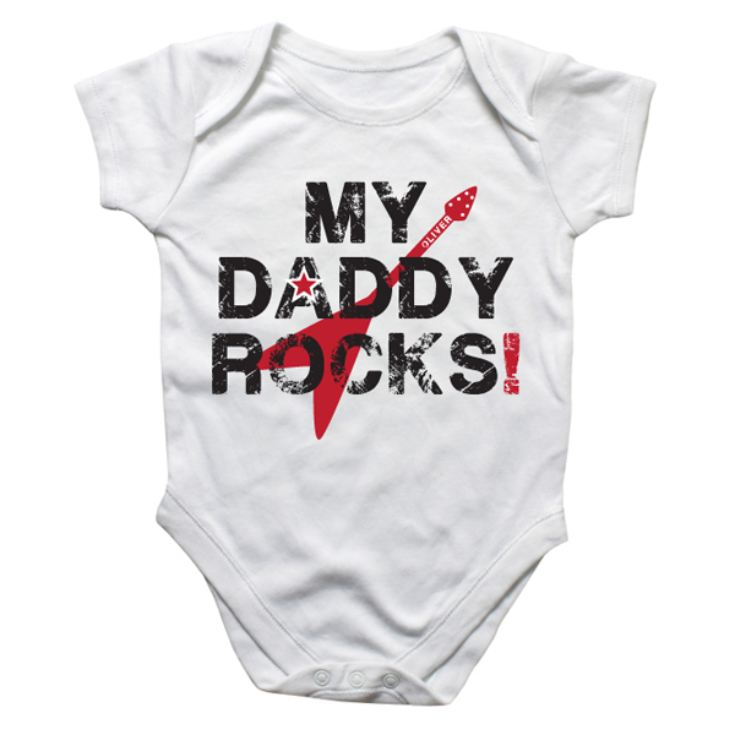 Personalised My Daddy Rocks Baby Grow product image