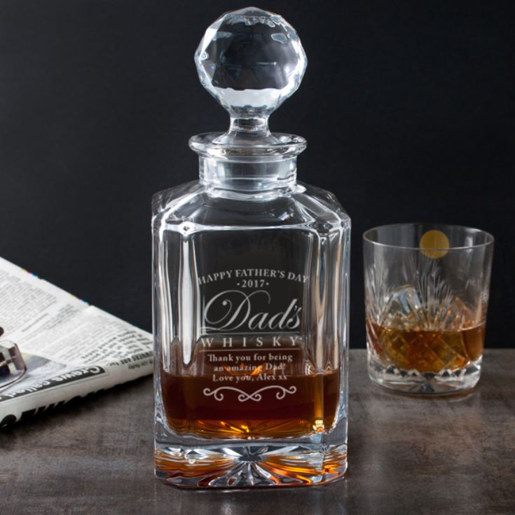 Engraved Father's Day Square Crystal Decanter product image