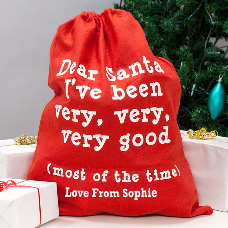 Personalised Red 'Dear Santa' Felt Sack product image