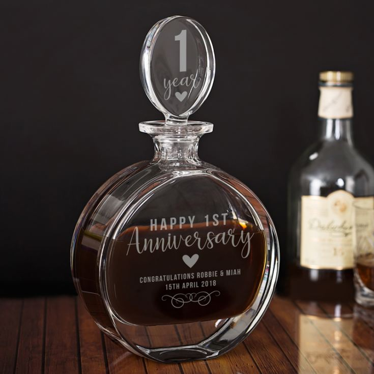 Personalised 1st Anniversary Lead Crystal Disc Decanter product image