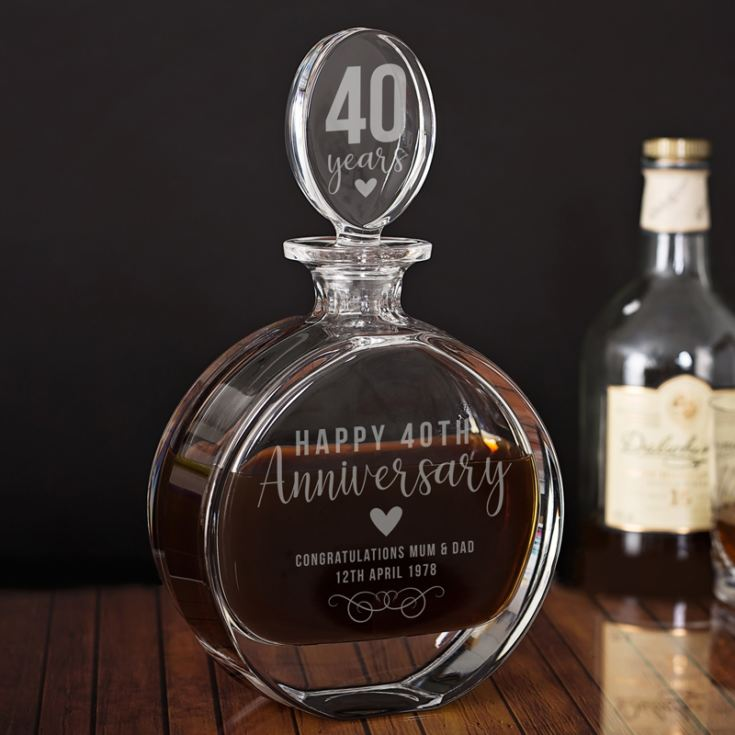 Personalised 40th Anniversary Lead Crystal Disc Decanter product image