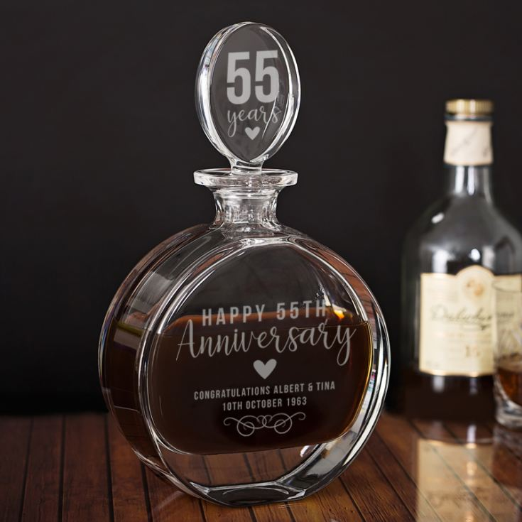 Personalised 55th Anniversary Lead Crystal Disc Decanter product image