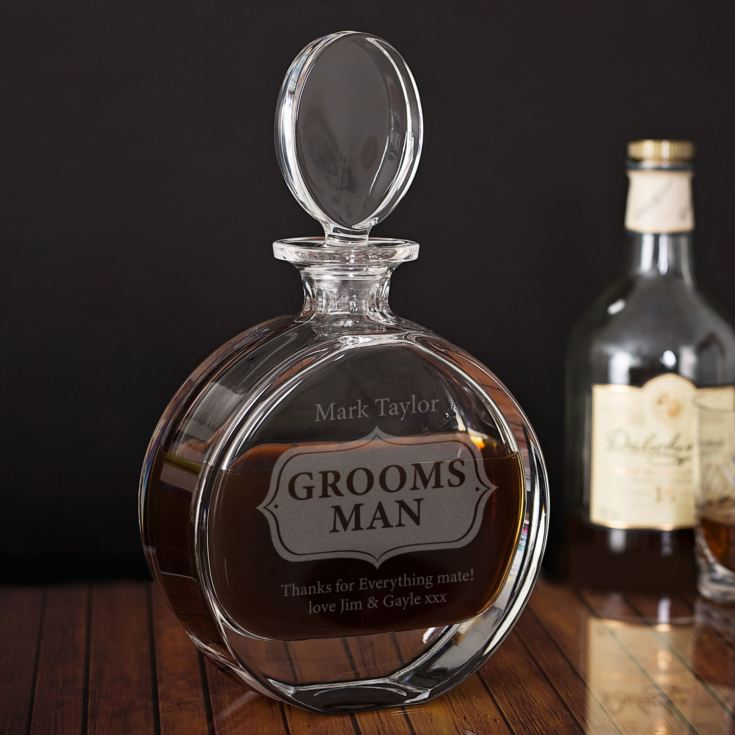 Personalised Groomsman Lead Crystal Disc Decanter product image