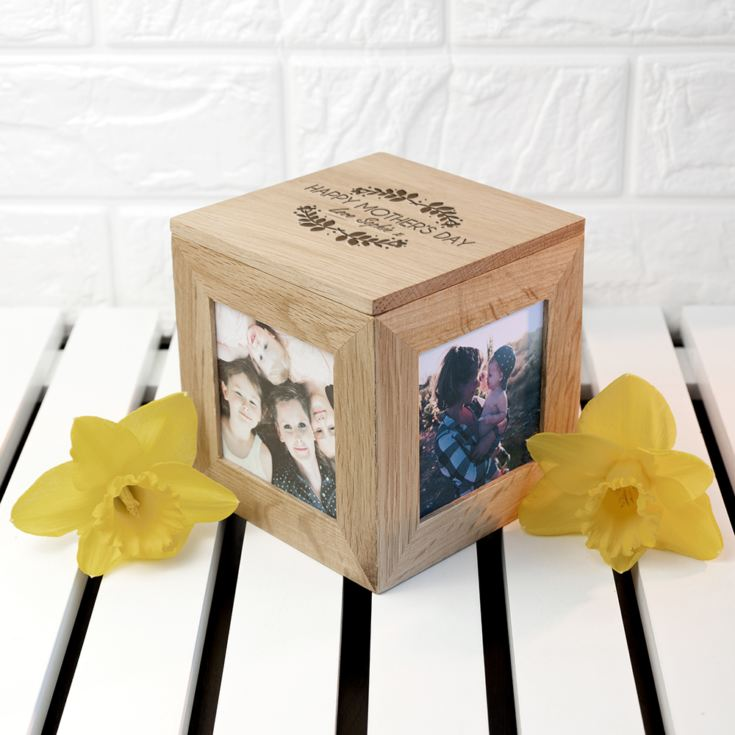 Engraved Happy Mother's Day Oak Photo Cube product image