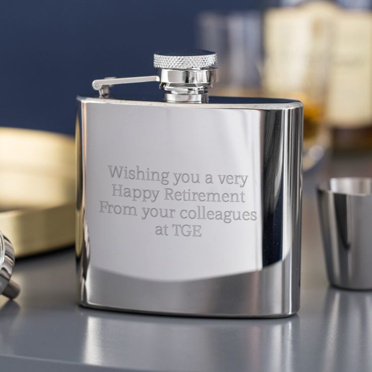 Engraved Stainless Steel Hip Flask Gift Set product image