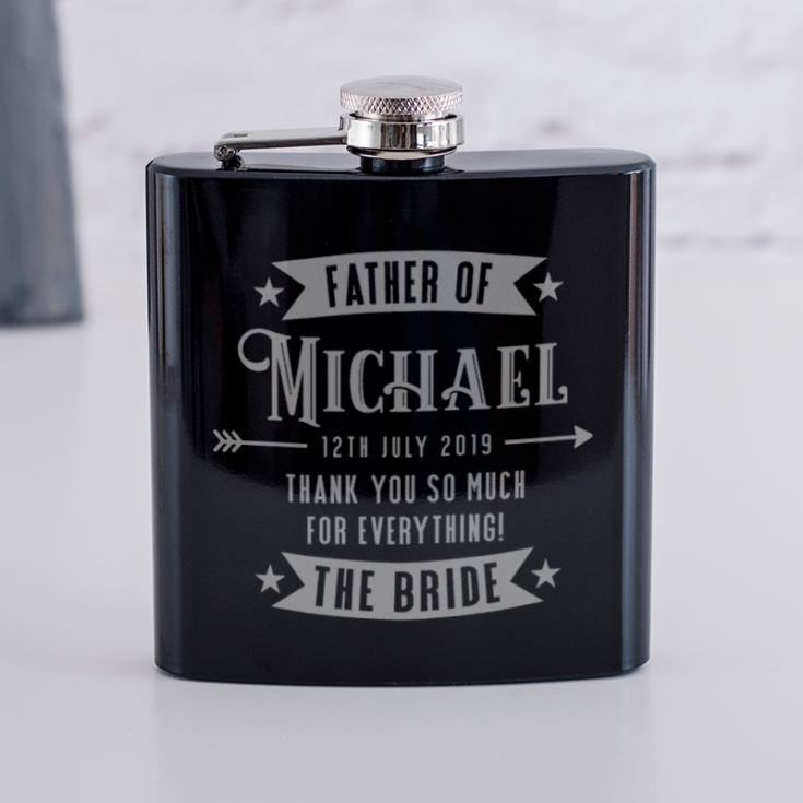 Personalised Father Of The Bride Black Hip Flask product image