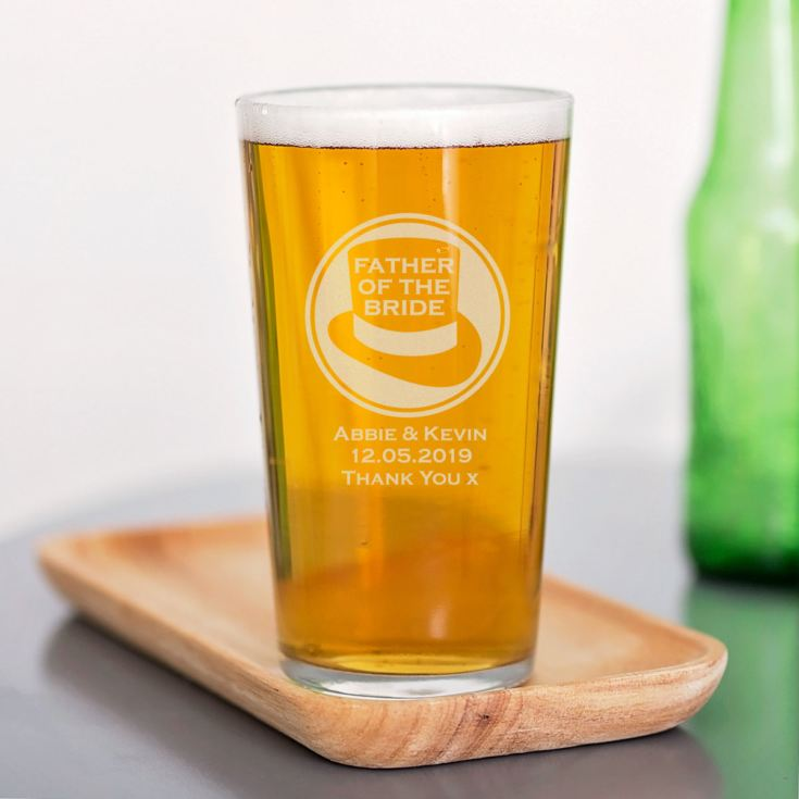 Personalised Father Of The Bride Straight Sided Pint Glass product image