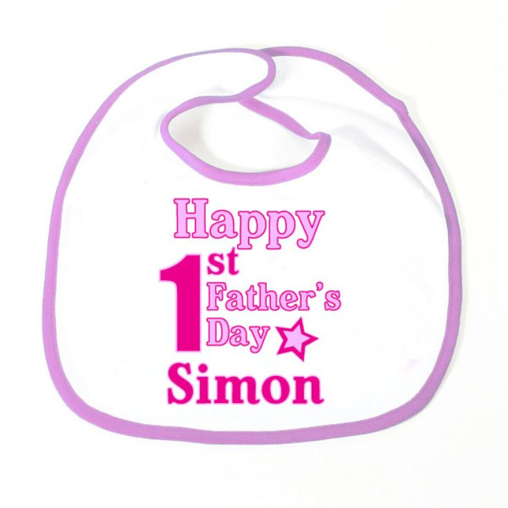 Happy 1st Fathers Day Personalised Baby Bib product image