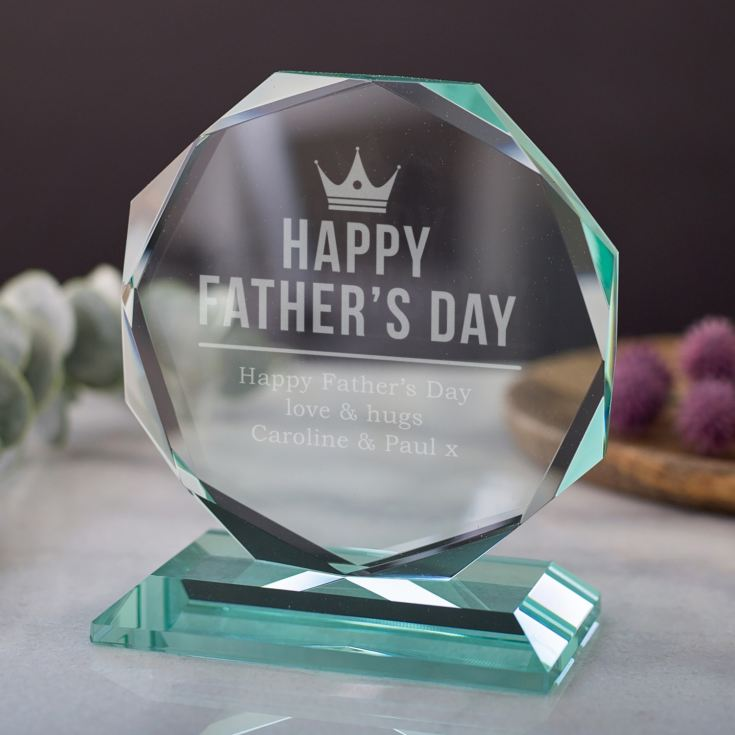 Personalised Happy Father's Day Glass Octagon Award product image