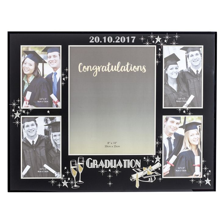 23b299430a5 Personalised Large Black Glass Graduation Collage Photo Frame product image