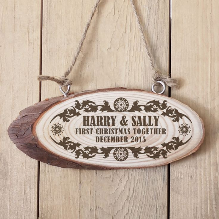 Personalised First Christmas Together Wooden Hanging Plaque product image