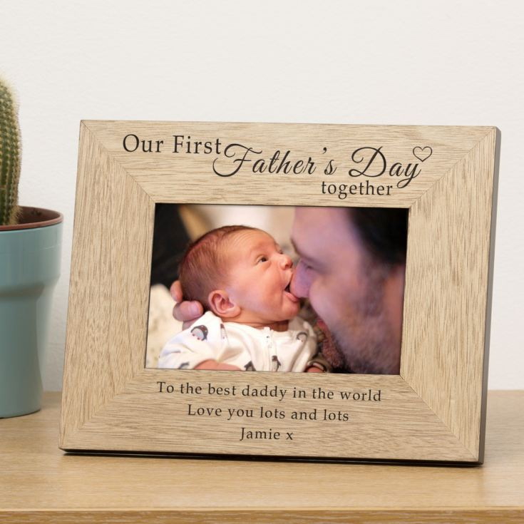 Our First Fathers Day Wood Frame product image