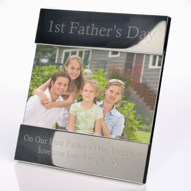 Engraved First Father's Day Shiny Silver Photo Frame product image