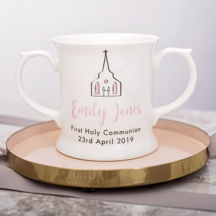Personalised First Holy Communion Bone China Loving Cup - Pink product image