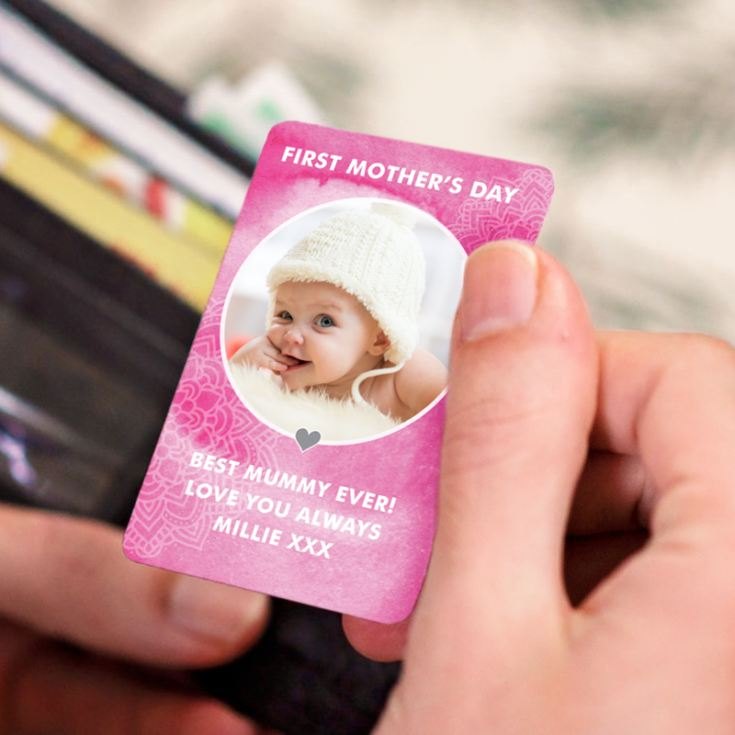 Personalised 1st Mother's Day Metal Wallet Photo Card product image
