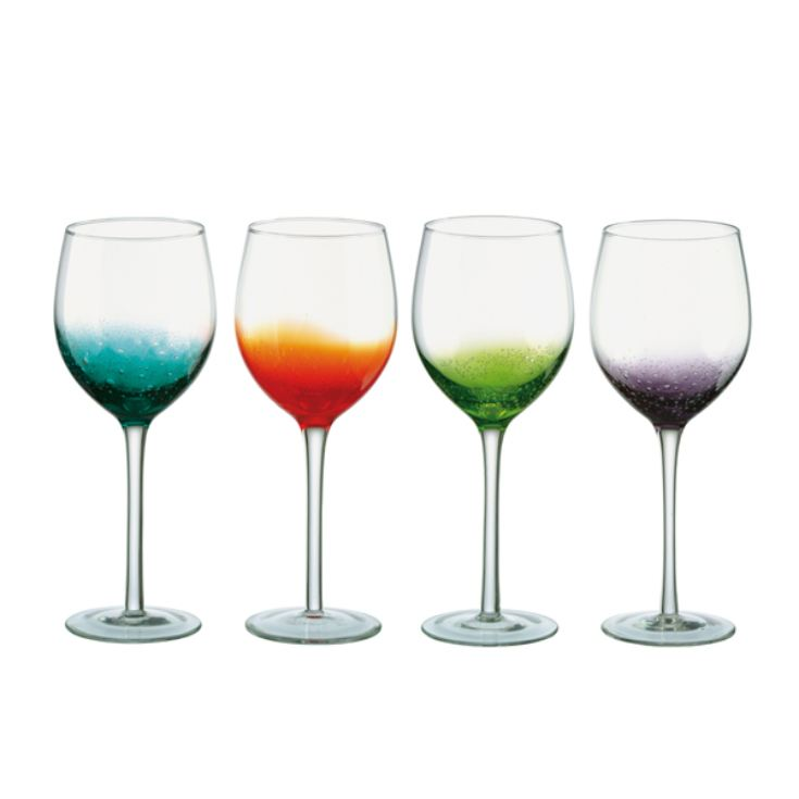 Personalised Fizz Multicoloured Wine Glasses - Set of Four product image