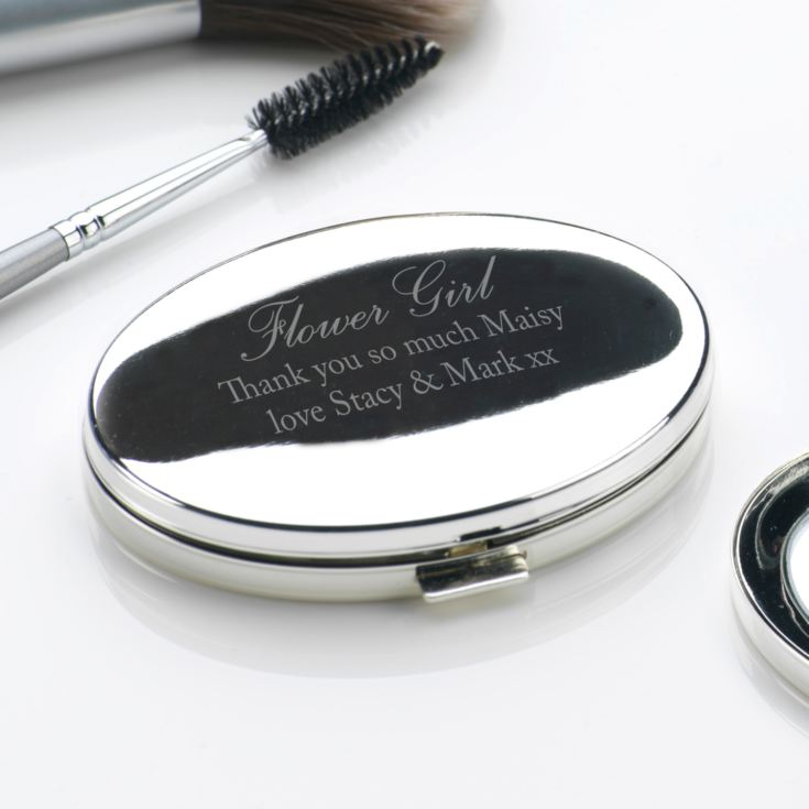Engraved Flower Girl Oval Compact Mirror product image