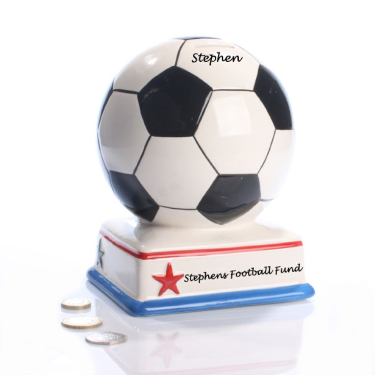 Personalised Football Fan Money Box product image