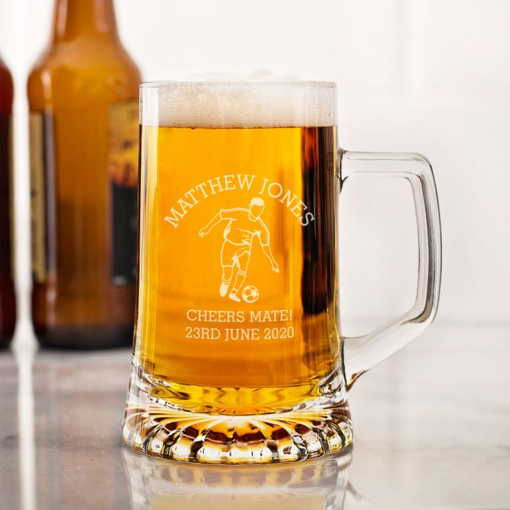 Personalised Football Beer Glass Tankard product image