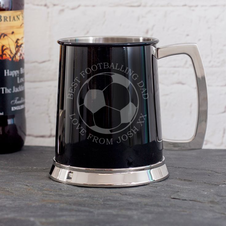 Personalised Football Black Tankard product image