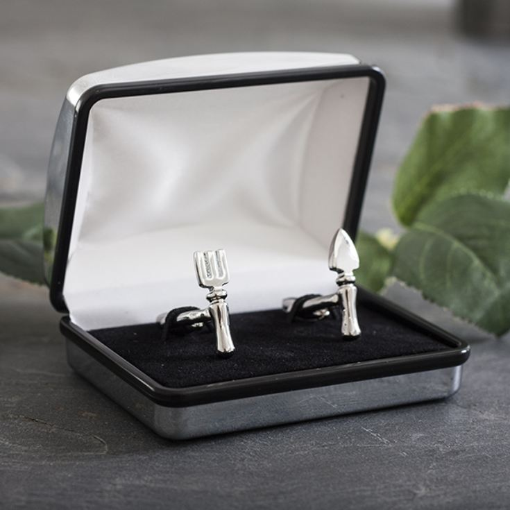 Fork and Trowel Gardeners Cufflinks In Personalised Box product image