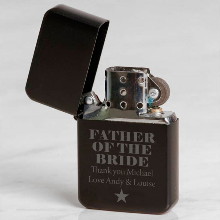 Personalised Father Of The Bride Black Petrol Lighter product image