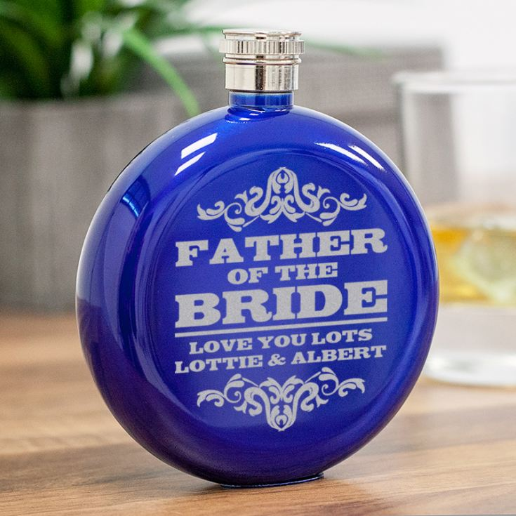 Personalised Father Of The Bride Round Blue Stainless Steel Hipflask product image
