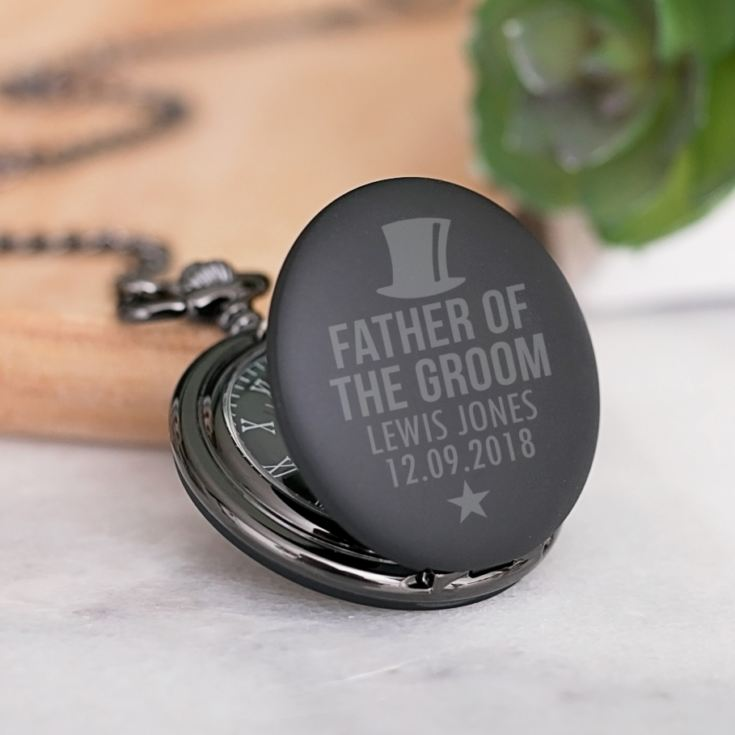 Father Of The Groom Personalised Black Pocket Watch product image