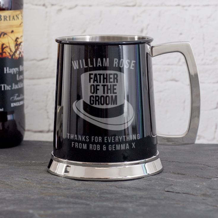 Personalised Father Of The Groom Black Tankard product image