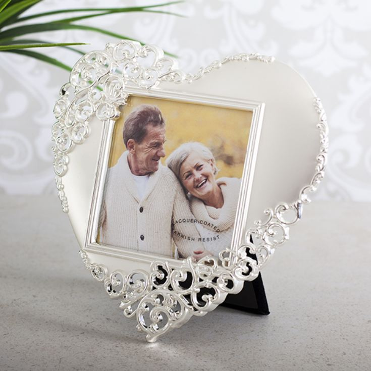 Heart Shaped Silverplated See Through Scroll Frame product image