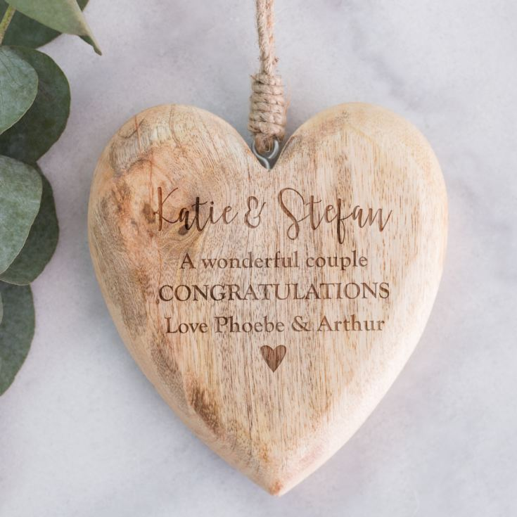 Personalised Large Chunky Wooden Hanging Heart product image