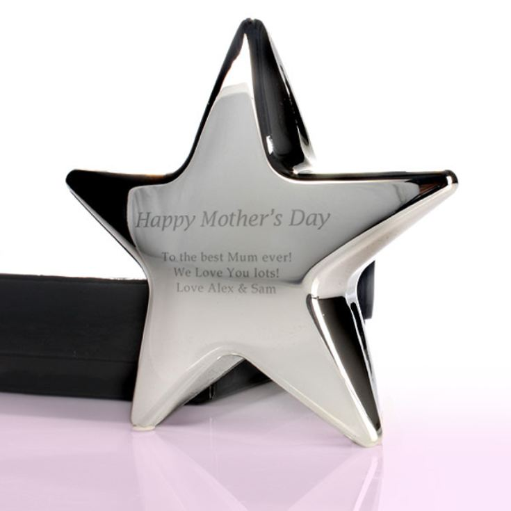 Personalised Mother's Day Silver Star Paperweight product image